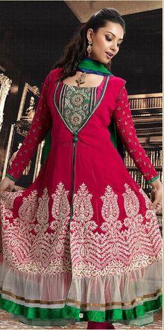 Pink Full Sleeve Georgette Anarkali Salwar Kameez 15786