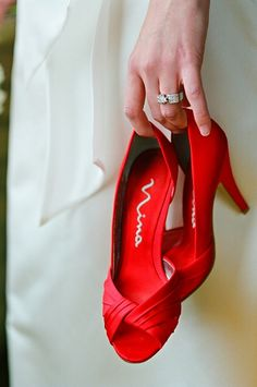vibrant red wedding shoes