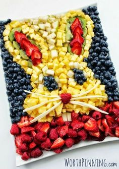 Reclaim your Health through Healing Cuisine: Easter Fruit platter also good for theme parties. You could also make a dog or a cat, etc.