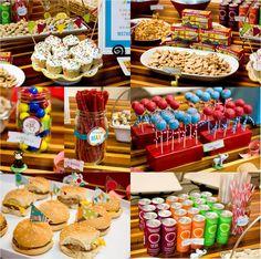 corn dogs, mini burgers, carrot & celery stix, cake pops, animal crakers, lemonade, izzy, (anything else)  sweets table in glass jars