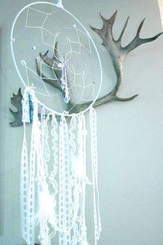 X Large Dreamcatcher - Lavender/Purple, Lace, Beads, Feathers