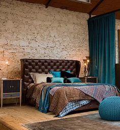 inspiration:  boring beige bedroom, made interesting by adding teal blue and chocolate brown textiles- REALLY like this