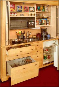 Secret Compartment Cabinets: Compact Culinary Cabinetry Conceals Cooking Clutter Compact Kitchen, Small Space Kitchen, Mini Kitchen, Kitchen Units, Small Space Living, Kitchen Ideas, Living Spaces, Hidden Kitchen, Real Kitchen