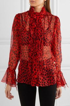 Roberto Cavalli - Ruffled Leopard-print Crinkled Silk-chiffon Blouse - Red - IT42