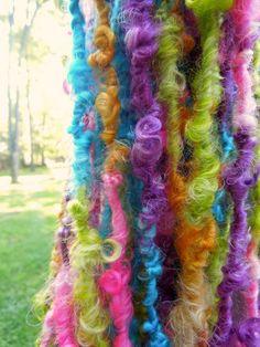 Nerdy Curls Handspun Art Yarn, Lockspun Wensleydale via Etsy