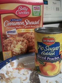 Eating With MiMi: Cinnamon & Peach Coffeecake.I looked at this muffin mix to make this and found it to have trans fat in it and I now need to look into something to substitute . Cake Mix Desserts, Ww Desserts, Delicious Desserts, Dessert Recipes, Yummy Food, Breakfast Recipes, Awesome Desserts, Breakfast Pastries, Diabetic Desserts