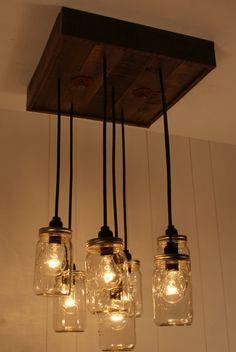 upcycled lighting | ... Products > Mason Jar Chandelier - Mason Jar lighting - Upcycled Wood