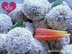 Finom kókuszgolyó zabpehelyből és almából Crossfit Diet, Diet Cake, Vegan Desserts, Cantaloupe, Food And Drink, Low Carb, Keto, Healthy Recipes, Snacks