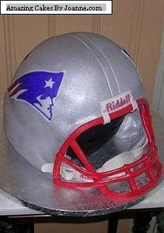 New England Patriots Football Helmet Birthday Cake.  I need this for Saije's Birthday!!!
