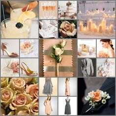 Peach and gray wedding board