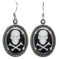 Skull Cameo Earrings ❤ liked on Polyvore