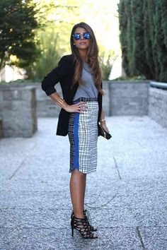Not ready to give up on your cotton t-shirt? Pair it with a statement pencil skirt and a tailored blazer. | Office Style