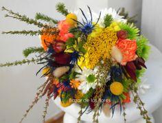 #rustic #marbles #achilea #craspedia #protea #colors #wedding #bouquet  www.bazardelasflores.cl