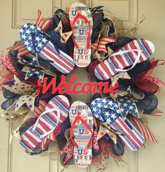 Patriotic Flip-Flop wreath with 3 pairs of flip-flops and lots of burlap ribbons, ready for sale for only $55.  Purchase here: https://www.etsy.com/listing/534798613/patriotic-flip-flops-wreath-eith-3-pairs