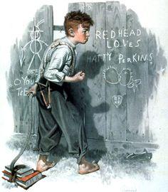 "Norman Rockwell ""Redhead loves Hatty Perkins"" (1916)"