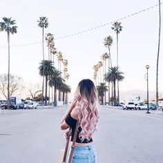 ombre pink   blonde   black   long curly hair styles   girls   wavy   pastel   cotton candy   hair color   wigs   beautiful   shade