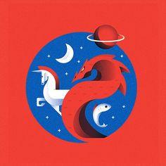 Spot illustration we did for sky delta last year #illustration #editorial #dragon #horse #unicorn #space #jupiter