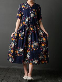 Vintage Floral Print Drawstring Half Sleeve Dress For Women