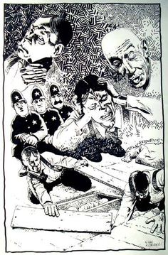 """"""" I shrieked, """"dissemble no more! I admit the deed! ―tear up the planks! ―It is the beating of his hideous heart!"""" ―The Tell-Tale Heart Artwork by Richard Corben. Comic Book Artists, Comic Books Art, Edgar Allan Poe Museum, The Tell Tale Heart, Mystery Genre, Heart Artwork, Ink Master, Arte Horror, Graphic Art"""