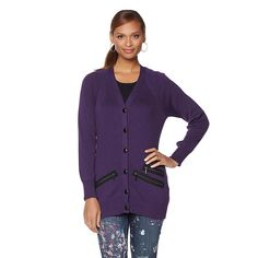 Melissa McCarthy Seven7 Boyfriend Cardigan with Zipper Detail - Missy - Purple
