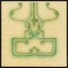 art nouveau tile green and cream