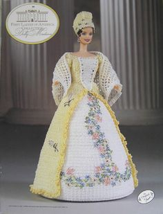 Annie's Attic Crochet Fashion Bed Doll Pattern First Ladies Dolly Madison