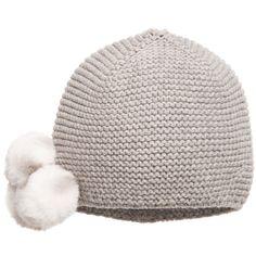 f827647caf8 Lili Gaufrette Girls Grey Wool  amp  Cotton Knit Hat at Childrensalon.com  Crochet Baby