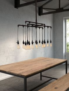 The Maldonite Ceiling Lamp epitomizes industrial style. Streamlined design is achieved with heavy vertical pipes that form cascading tiers. Exposed light bulbs hang from the piped corners to create an unrefined aesthetic complementing any contemporary or modern space while maximizing functionality.