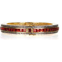 Artisan 14-karat gold, diamond and garnet bangle