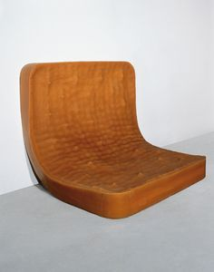 """Rachel Whiteread Untitled (Amber Double Bed) 1991 Rubber and high-density foam 119.4 x 137.2 x 104.1 cm    47 x 54 x 41"""" Exhibited at the Saatchi Gallery"""