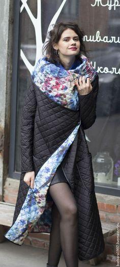Верхняя одежда ручной работы. Пальто СOZY QUILTED FLOWERS BLACK. Sasha Fi. Интернет-магазин Ярмарка Мастеров.