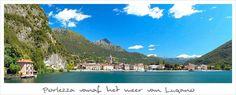 Porlezza aan meer van Lugano, vakantiechalet dat prive verhuurd wordt op typische Italiaanse camping met glijbanen, kinderbad, en kiezelstrand.