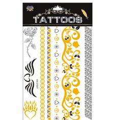 MIXED Wholesale fashion brand new necklace bracelets tatoo metal silver golden temporary tattoos Sticker for adults