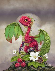 RASPBERRY DRAGON Print or dragon art, dragon poster, kitchen décor, kids room décor, food dragon Digital Art digital art no tablet Magical Creatures, Fantasy Creatures, Dragon Print, Dragon Bird, Dragon Artwork, Dragon Pictures, Dragon Images, Cute Dragons, Little Dragon