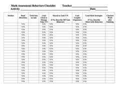 Here's a checklist form for tracking student behaviors (time on task, reading directions, using math strategies, etc.) during math instruction. First Year Teaching, Co Teaching, Student Behavior, Math Strategies, Fun Worksheets, Formative Assessment, Middle School Teachers, 1st Grade Math, Student Reading