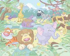 'Baby Jungle Safari' wallpaper for babies – WALLTASTIC