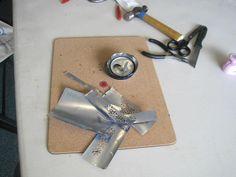 Helen Harle's Aluminium Jewellery workshop.