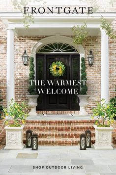Ready, set... spring. A welcoming home from Frontgate. Find new ways to spruce up your front door with faux greenery, lanterns, planters and more.