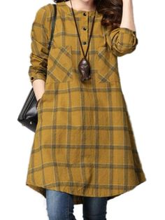 Women Checked Long Sleeve Plaid Grid Loose Casual Dresses The most beautiful and newest outfit ideas Robes Vintage, Vintage Dresses, Kurta Designs, Blouse Designs, Stylish Dresses, Casual Dresses, Tunic Dresses, Hijab Fashion, Fashion Dresses
