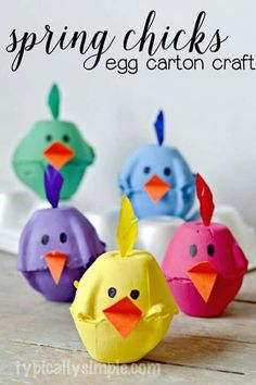 Spring Chicks Egg Carton Craft - Typically Simple Using something old, making something new! These super cute egg carton chicks are the perfect kids' craft for spring. Need excellent ideas about arts and crafts? Spring Crafts For Kids, Bunny Crafts, Easter Crafts For Kids, Toddler Crafts, Diy For Kids, Kids Fun, Children Crafts, Egg Crafts, Easter Decor
