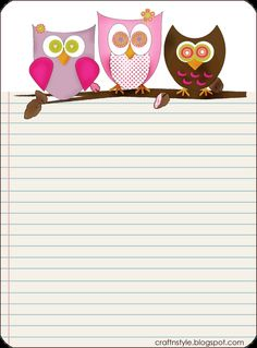 7 Best Images of Free Printable Paper Owls Templates - Free Printable Owl Pattern Template, Free Printable Owl Stationery and Owl Template Printable Printable Lined Paper, Free Printable Stationery, Free Printables, Owl Printable, Printable Border, Stationery Templates, Stationery Paper, Paper Journal, Journal Cards