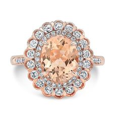 3.45 Ct. Oval Morganite Diamond Halo Engagement by AnyeJewelry