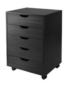 Halifax Black Cabinet w/ 5 Drawers - Winsome Wood storage carts feature a multitude of drawers to create an easily accessible storage unit in your home office, kitchen, craft room, or a child's room. Optional locking casters are provided for 5 Drawer Storage, Storage Cabinets, Storage Chest, Filing Cabinets, Storage Organization, Storage Ideas, Storage Shelves, Rolling Storage, Safe Storage