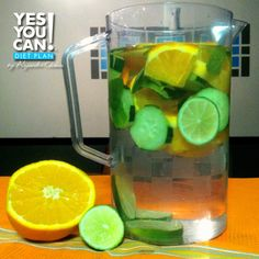 • 8 oz Water  • 1 slice grapefruit  • 1 tangerine  • 1/2 cucumber, sliced  • 2 peppermint leaves  • Ice – as much as you like