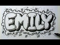 How to Draw Graffiti Letters - Write Emily in Bubble Letters, Do you know an Emily? Well here''s a cool way to write your name in graffiti let. Graffiti Lettering Fonts, Graffiti Writing, Doodle Lettering, Lettering Design, How To Graffiti, Doodle Fonts, Graffiti Alphabet, Graffiti Art Drawings, Name Drawings