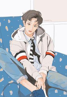Bts Art, Chibi, Exo Anime, Exo Fan Art, Boy Illustration, Handsome Anime Guys, Fanarts Anime, Korean Art, Kpop Fanart