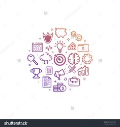 Vector illustration of circular colorfu icon in flat line style. Design concept of Business, Start up, Management, Online Marketing, Analysis, SEO and development use in Web Project and Applications.
