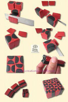 Fimo Cristalline, tuto et bijoux en polymère: Tuto canne graphique simple (fin)