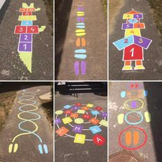 Diy Crafts - Fun,Games-Fun Summer Games for Kids to Play Outdoors - Sidewalk Chalk , Chalk Fun Games Kids kidssummeractivitieslearning Outdoors Preschool Playground, Playground Games, Preschool Activities, Outdoor Games For Kids, Summer Activities For Kids, Toddler Activities, Summer Games, Sidewalk Chalk Games, Sidewalk Art