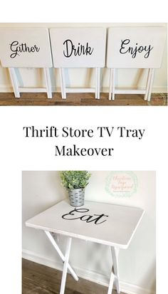 Thrift store TV trays makeover using chalk paint and vinyl created on my Cricut machine! Thrift store TV trays makeover using chalk paint and vinyl created on my Cricut machine! Thrift Store Furniture, Thrift Store Crafts, Repurposed Furniture, Refurbished Furniture, Thrift Stores, Thrift Store Decorating, Diy Furniture Repurpose, Online Thrift, Industrial Furniture